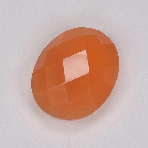 Warm Apricot Orange Cornalina Gema - 2.3ct Óvalo checkerboard (en ambos lados) (ID: 514690)