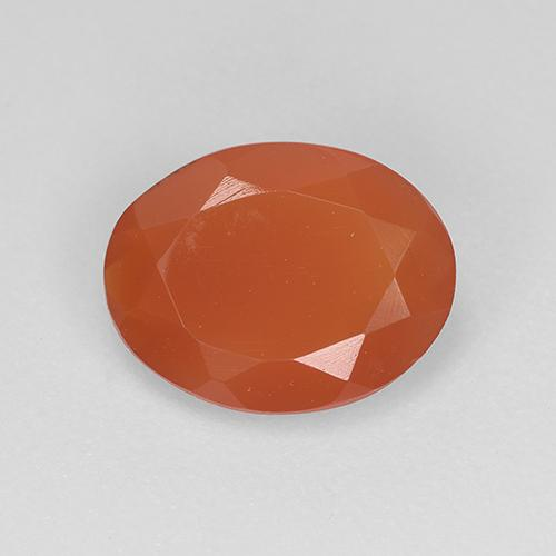 1.1ct Oval Facet Reddish Orange Carnelian Gem (ID: 521657)