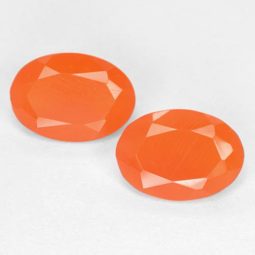 0.6ct Oval Facet Reddish Orange Carnelian Gem (ID: 554081)