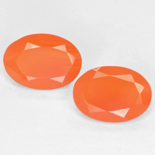 0.7ct Ovale sfaccettato Medium Orange Corniola Gem (ID: 554082)