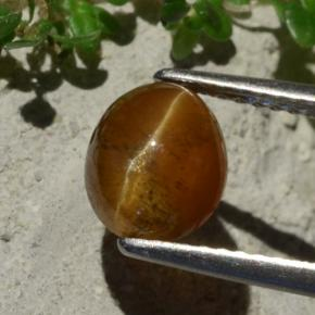 thumb image of 1.8ct Oval Cabochon Brownish Green Cat's Eye Apatite (ID: 483763)