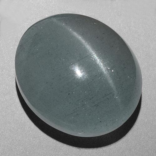 Green-Blue Cat's Eye Aquamarine Gem - 43.7ct Oval Cabochon (ID: 403262)