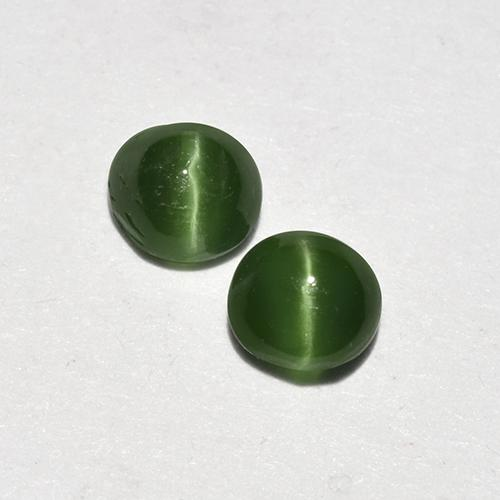 Green Cat's Eye Augite Gem - 0.3ct Round Cabochon (ID: 517078)