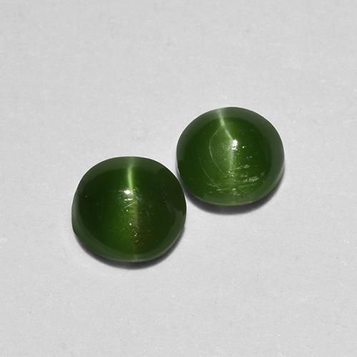 Green Cat's Eye Augite Gem - 0.3ct Round Cabochon (ID: 517081)