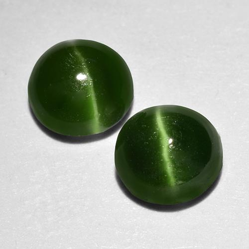 Green Cat's Eye Augite Gem - 0.6ct Round Cabochon (ID: 517086)