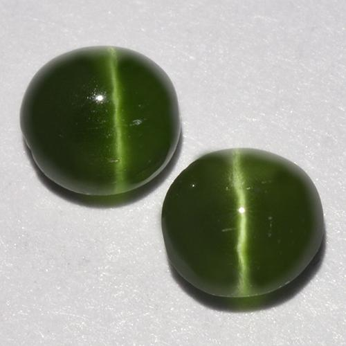 Seaweed Green Cat's Eye Augite Gem - 0.4ct Round Cabochon (ID: 518338)