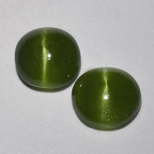 Green Cat's Eye Augite Gem - 0.4ct Round Cabochon (ID: 518346)