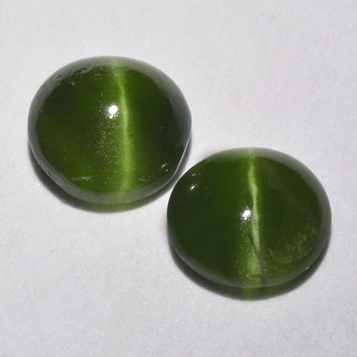 Green Cat's Eye Augite Gem - 0.5ct Round Cabochon (ID: 520120)