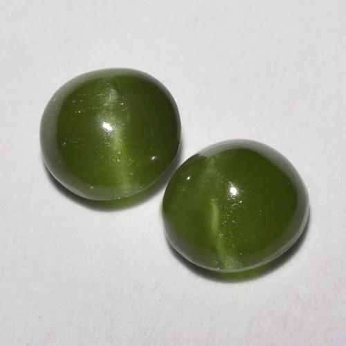Green Cat's Eye Augite Gem - 0.4ct Round Cabochon (ID: 520121)