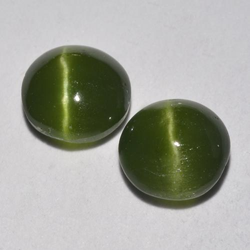 Green Cat's Eye Augite Gem - 0.7ct Round Cabochon (ID: 520122)