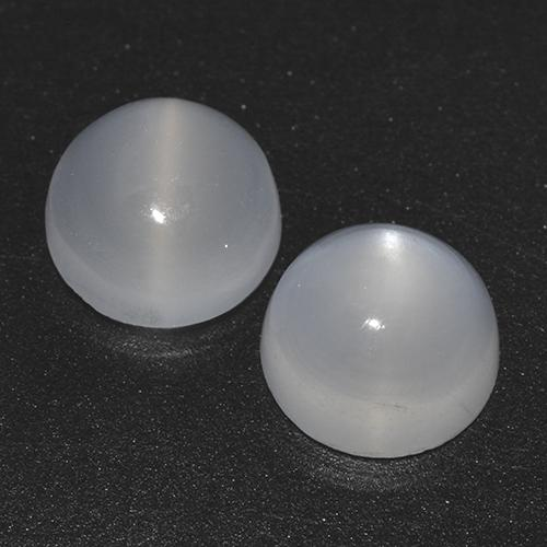 White Cat's Eye Moonstone Gem - 1ct Round Cabochon (ID: 516204)