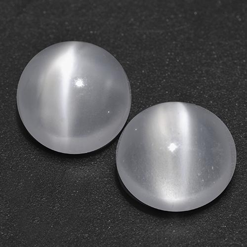 White Cat's Eye Moonstone Gem - 1ct Round Cabochon (ID: 518317)