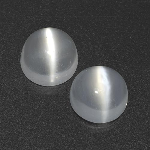 Clear White Cat's Eye Moonstone Gem - 0.5ct Round Cabochon (ID: 518337)