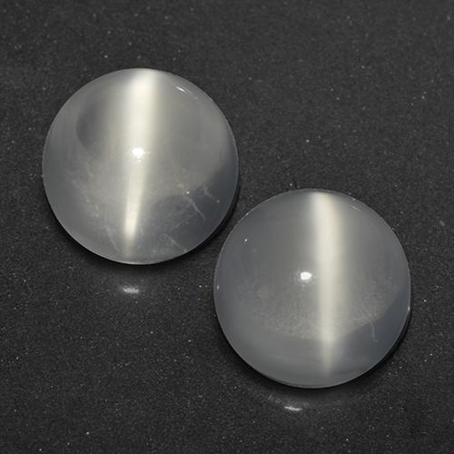 White Cat's Eye Moonstone Gem - 1.1ct Round Cabochon (ID: 519628)