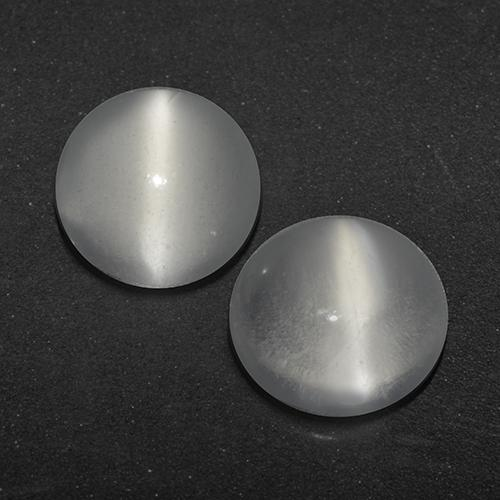 White Cat's Eye Moonstone Gem - 0.8ct Round Cabochon (ID: 519632)