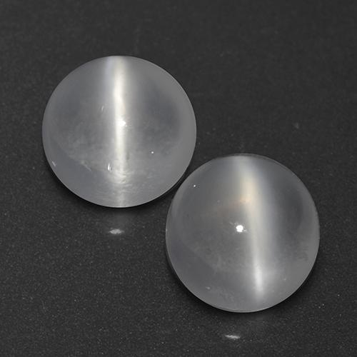 White Cat's Eye Moonstone Gem - 0.7ct Round Cabochon (ID: 519951)