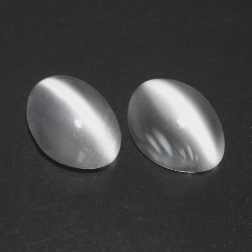 White Cat's Eye Moonstone Gem - 0.8ct Oval Cabochon (ID: 542508)