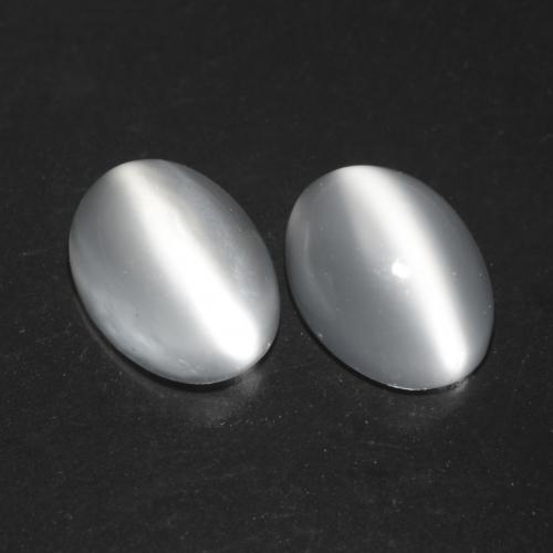 Translucent White Cat's Eye Moonstone Gem - 0.9ct Oval Cabochon (ID: 542514)