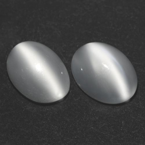 White Cat's Eye Moonstone Gem - 1ct Oval Cabochon (ID: 542982)