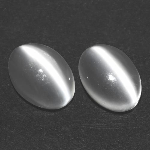 White Cat's Eye Moonstone Gem - 0.6ct Oval Cabochon (ID: 542985)