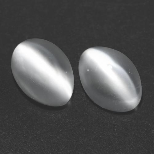 White Cat's Eye Moonstone Gem - 1ct Oval Cabochon (ID: 542990)
