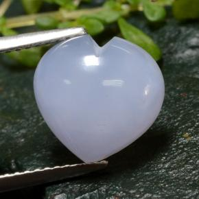 Lavender Blue Chalcedony Gem - 4.1ct Heart Cabochon (ID: 312705)