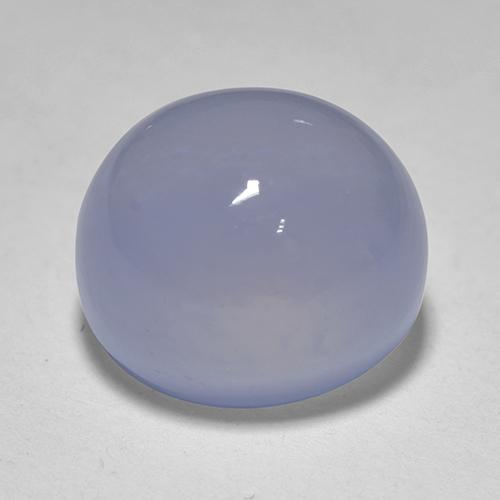 Light Purplish Blue Chalcedony Gem - 3.8ct Oval Cabochon (ID: 518693)