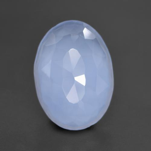5.7ct Oval Bufftop Purplish Blue Chalcedon Edelstein (ID: 532038)
