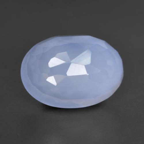 5.6ct Oval Bufftop Purplish Blue Chalcedon Edelstein (ID: 532044)