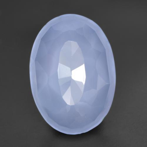 5.7ct Ovale Buff-Top Purplish Blue Calcédoine gemme (ID: 532081)