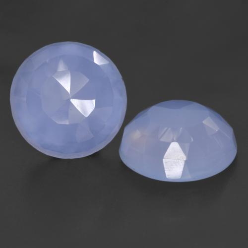 Violet Blue Chalcedony Gem - 8.2ct Round Buff-Top (ID: 532102)