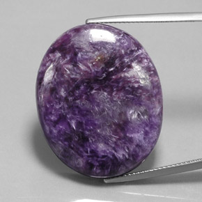 Violet Charoite Gem - 36.5ct Oval Cabochon (ID: 363144)