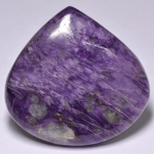 Violet Charoite Gem - 56.8ct Pear Cabochon (ID: 435039)