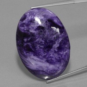Violet Charoite Gem - 34.6ct Oval Cabochon (ID: 448527)