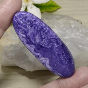 Intense Violet Charoite Gem - 51.5ct Oval Cabochon (ID: 472510)