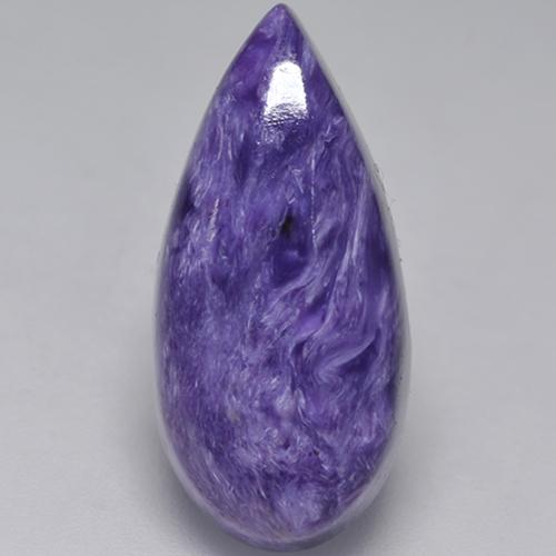 Violet Charoite Gem - 8.6ct Pear Cabochon (ID: 528148)