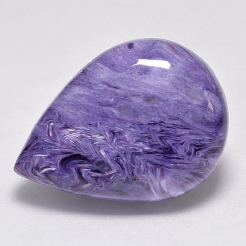 Light Velvet Purple Violet Charoite Gem - 13ct Pear Cabochon (ID: 528842)