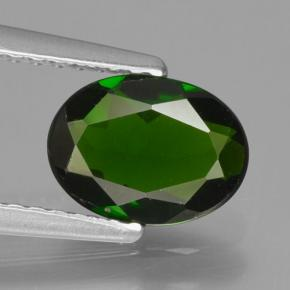Green Chrome Diopside Gem - 0.9ct Oval Facet (ID: 465033)
