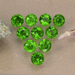 0.1ct Round Facet Green Chrome Diopside Gem (ID: 473857)