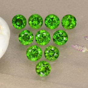Green Chrome Diopside Gem - 0.1ct Round Facet (ID: 473861)