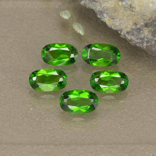 Lively Green Chrome Diopside Gem - 0.3ct Oval Facet (ID: 496119)