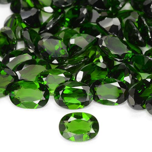 0.78 ct Ovale facette Vert foncé Diopside Chrome gemme 7.05 mm x 5.1 mm (Photo A)
