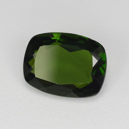 Dark Green Chrome Diopside Gem - 1.3ct Cushion-Cut (ID: 510910)