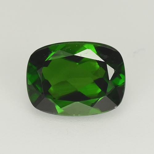 1.5ct Cushion-Cut Dark Green Chrome Diopside Gem (ID: 510912)