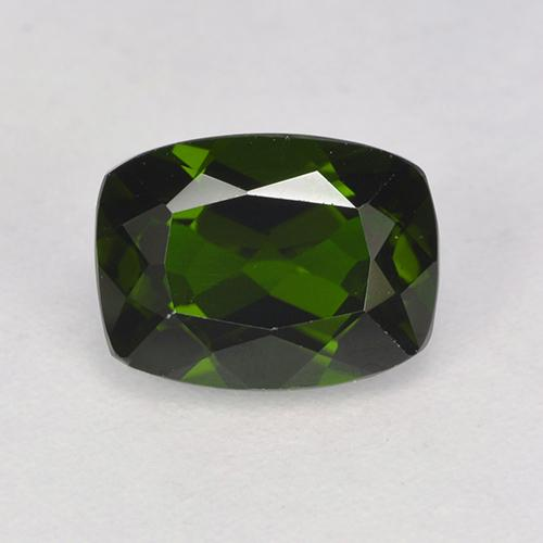 1.6ct Cushion-Cut Dark Green Chrome Diopside Gem (ID: 524234)