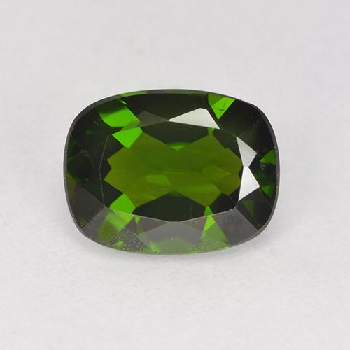 1.3ct Cushion-Cut Dark Green Chrome Diopside Gem (ID: 524235)