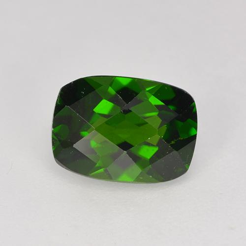 Medium-Dark Green Chrome Diopside Gem - 1.5ct Cushion Checkerboard (ID: 524242)
