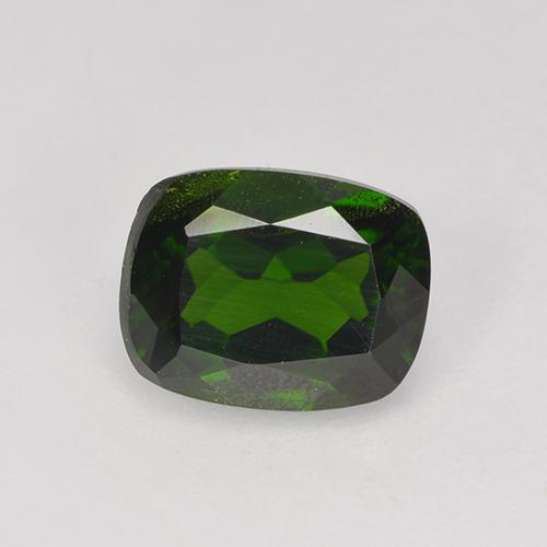 1.6ct Cushion-Cut Dark Green Chrome Diopside Gem (ID: 524244)
