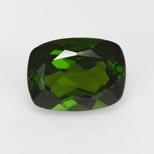 1.6ct Cushion-Cut Dark Green Chrome Diopside Gem (ID: 524559)