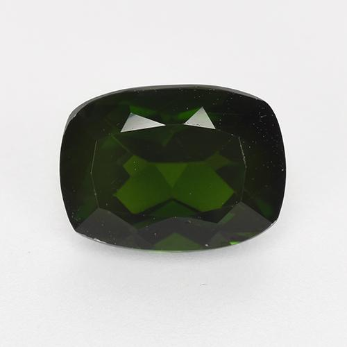 Very Dark Green Diopside Chrome gemme - 1.5ct Coussin-coupe (ID: 524564)
